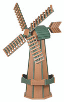 Amish Crafted Poly Windmill, Finished In Primary Color: Mahogany, Accent/Trim Color: Turf Green