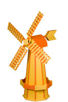 Amish Crafted Poly Windmill Medium Finished In Primary Color: Yellow, Accent/Trim Color: Orange