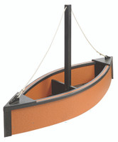 Amish Handcrafted Sailboat Planter - Poly Outdoor Nautical Flower Box In Primary Color: Cedar, Accent Color: Black