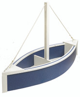 Amish Handcrafted Sailboat Planter - Poly Outdoor Nautical Flower Box In Primary Color: Patriot Blue, Accent Color: White
