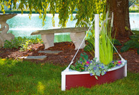 Amish Handcrafted Sailboat Planter - Poly Outdoor Nautical Flower Box In Primary Color: Cherrywood, Accent Color: White