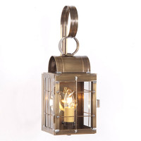 Irvin's Tinware Single Wall Outdoor Lantern With Cross Bars Finished In Weathered Brass