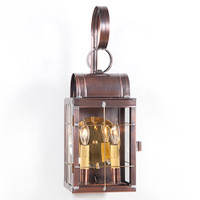 Irvin's Double Wall Outdoor Lantern With Cross Bars Finished In Antique Copper