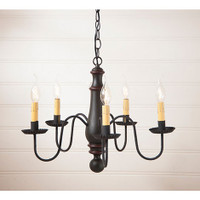 Irvin's Norfolk Medium Wooden Chandelier In Sturbridge Black With Red Trim