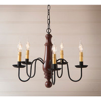 Irvin's Norfolk Medium Wooden Chandelier In Sturbridge Red