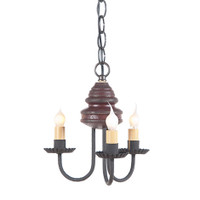 Irvins Bellview Wooden Chandelier In Americana Plantation Red