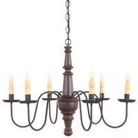 Irvin's Harrison Wooden Chandelier In Americana Plantation Red