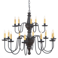 Irvin's Harrison 2 Tier Wooden Chandelier In Americana Black