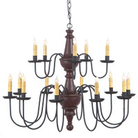 Irvin's Harrison 2 Tier Wooden Chandelier In Americana Plantation Red