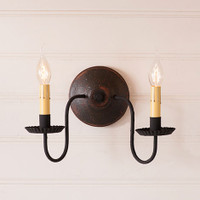 Irvin's Primitive Ashford Sconce In Americana Espresso With Red