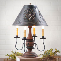 "Irvin's Jamestown Lamp In Hartford Pumpkin, Shown With Optional 15"" Chisel Design Textured Black Shade"