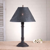 """Irvin's Gatlin Lamp In Hartford Black Over Red Shown With Optional 12"""" Chisel Design Shade In Textured Black"""