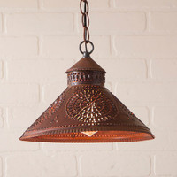 Irvin's Stockbridge Shade Light With Chisel Design Finished In Rustic Tin