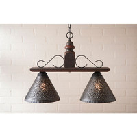 Irvin's Wellington Hanging Light - Medium - Finished In Americana Espresso With Red