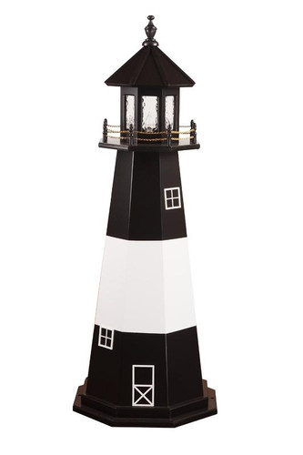 Amish Made Wooden Garden Lighthouse - Tybee Island - Shown As: 5 Foot, Standard Electrical Lighting, Roof & Tower Primary Color Black, Tower Accent/Trim Color White. Optional Base Primary Color None, Optional Base Trim Color None, No Base/Tower Interior Lighting