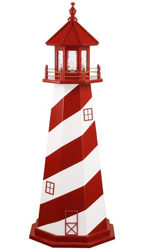 Amish Made Wooden Garden Lighthouse - White Shoals - Shown As: 5 Foot, Standard Electrical Lighting, Roof & Tower Primary Color Cardinal Red, Tower Accent/Trim Color White. Optional Base Primary Color None, Optional Base Trim Color None, No Base/Tower Interior Lighting