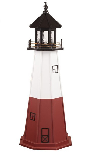 Amish Made Wood Garden Lighthouse - Vermillion - Shown As: 5 Foot, Standard Electric Lighting, Roof/Top Color Black, Upper Tower Color White, Lower Tower Color Red, Optional Base Primary Color None, Optional Base Trim Color None, No Base/Tower Interior Lighting