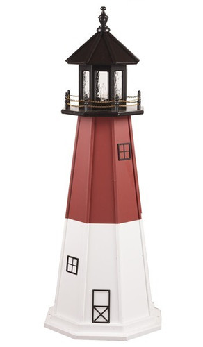 Amish Made Wood Garden Lighthouse - Barnegat - Shown As: 5 Foot, Standard Electric Lighting, Roof/Top Color Black, Upper Tower Color Red, Lower Tower Color White, Optional Base Primary Color None, Optional Base Trim Color None, No Base/Tower Interior Lighting