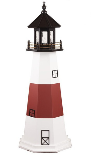 Amish Made Wood Garden Lighthouse - Montauk - Shown As: 5 Foot, Standard Electric Lighting, Roof/Top Color Black, Tower Upper & Lower Stripe Color White, Tower Middle Stripe Color Red, Optional Base Primary Color None, Optional Base Trim Color None, No Base/Tower Interior Lighting