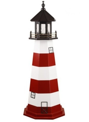 Amish Made Wood Garden Lighthouse - Assateague - Shown As: 5 Foot, Standard Electric Lighting, Roof/Top Color Black, Tower Top 3rd 5th Stripe Color White, Tower 2nd 4th Bottom Stripe Color Cardinal Red, Optional Base Primary Color None, Optional Base Trim Color None, No Base/Tower Interior Lighting