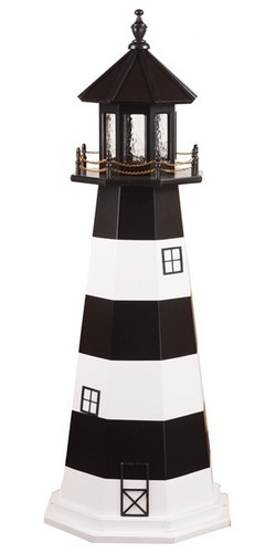 Amish Made Wooden Garden Lighthouse - Bodie Island - Shown As: 5 Foot, Standard Electrical Lighting, Roof & Tower Primary Color Black, Tower Accent/Trim Color White. Optional Base Primary Color None, Optional Base Trim Color None, No Base/Tower Interior Lighting