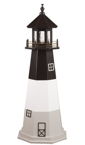 Amish Made Wood Garden Lighthouse – Oak Island - Shown As: 5 Foot, Standard Electric Lighting, Roof/Top Color: Black, Tower Upper Stripe Color: Black, Tower Middle Stripe Color: White, Tower Lower Stripe Color: Gray, Optional Base Primary Color None, Optional Base Trim Color None, No Base/Tower Interior Lighting