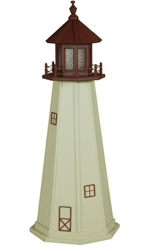 Amish Made Poly Outdoor Lighthouse - Cape May - Shown As: 5 Foot, Standard Electric Lighting, Roof/Top Color: Cherrywood, Tower Color: Ivory, Optional Base Primary Color None, Optional Base Trim Color None, No Base/Tower Interior Lighting