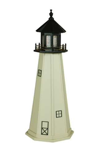 Amish Made Poly Outdoor Lighthouse - Split Rock - Shown As: 5 Foot, Standard Electric Lighting, Roof/Top Color: Black, Tower Color: Ivory, Optional Base Primary Color None, Optional Base Trim Color None, No Base/Tower Interior Lighting