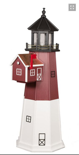 Amish Made Poly Outdoor Mailbox Lighthouse - Barnegat - Shown As: Standard Electric Lighting, Roof/Top Color Black, Upper Tower Color Cherrywood, Lower Tower Color White,