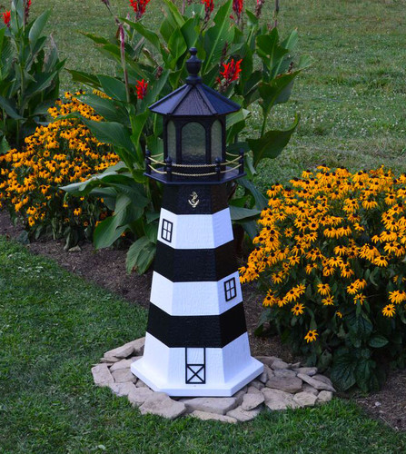 Amish Made Wood Garden Lighthouse - Bodie Island - Shown In 4 Foot Model With Standard Electric Lighting