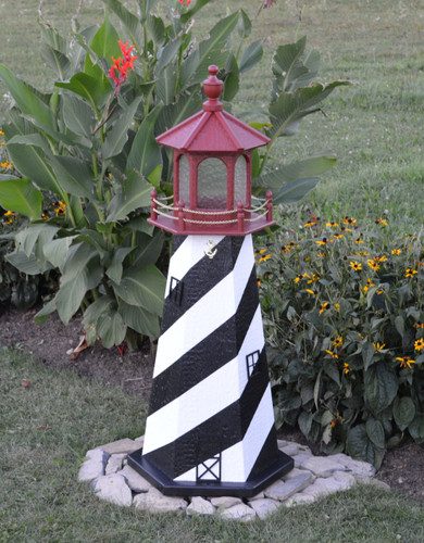 Amish Made Wood Garden Lighthouse - St. Augustine - Shown In 4 Foot Model With Standard Electric Lighting