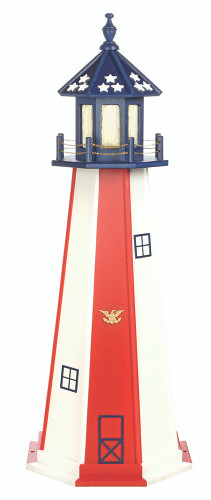 Amish Handcrafted Poly Garden Lighthouses - Patriotic Model