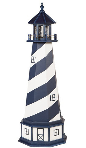 Amish Made Wood-Poly Hybrid Lighthouse - Cape Hatteras - Shown As: 5 Foot, Standard Electric Lighting, Poly Roof/Top Color: Patriot Blue, Wood Tower Primary Color: Patriot Blue, Wood Tower Accent Color: White, Poly Base Primary Color: White, Poly Base Trim Color: Patriot Blue, No Base/Tower Interior Lighting