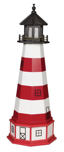 Amish Made Wood-Poly Hybrid Lighthouse - Assateague - Shown As: 5 Foot, Standard Electric Lighting, Poly Roof/Top Color: Black, Wood Tower Primary Color: Flag Red, Wood Tower Accent Color: White, Poly Base Primary Color: White, Poly Base Trim Color: Cardinal Red, No Base/Tower Interior Lighting