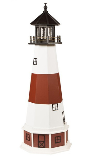 Amish Made Wood-Poly Hybrid Lighthouse - Montauk - Shown As: 5 Foot, Standard Electric Lighting, Poly Roof/Top Color: Black, Wood Tower Primary Color: White, Wood Tower Accent Color: Red, Poly Base Primary Color: Cherrywood, Poly Base Trim Color: White, No Base/Tower Interior Lighting