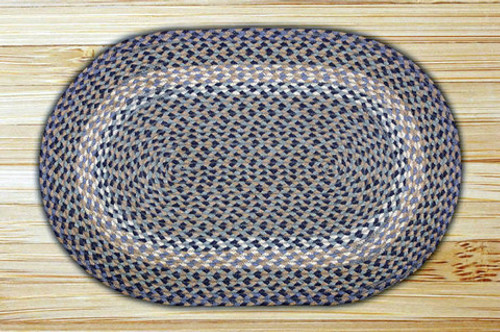 Earth Rugs™ oval braided jute rug in pictured in: Blue & Natural - C-05