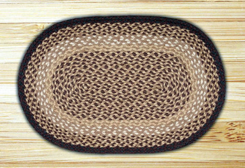 Earth Rugs™ oval braided jute rug in pictured in: Chocolate/Natural - C-17
