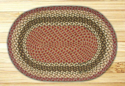 Earth Rugs™ oval braided jute rug in pictured in: Olive/Burgundy/Gray - C-24