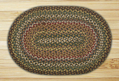 Earth Rugs™ oval braided jute rug in pictured in: Fir/Ivory - C-51