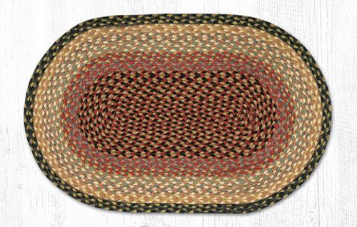 Earth Rugs oval braided jute rug in pictured in: Burgundy/Gray/Cream - C-57