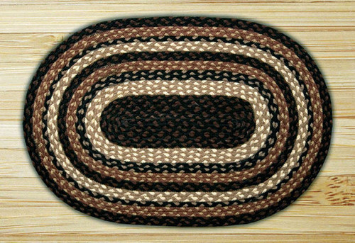Earth Rugs™ oval braided jute rug in pictured in: Mocha/Frappuccino - C-313