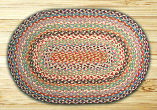 Earth Rugs™ oval braided jute rug in pictured in: Multi Colored - C-328