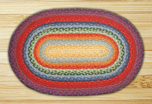 Earth Rugs™ oval braided jute rug in pictured in: Rainbow - C-400