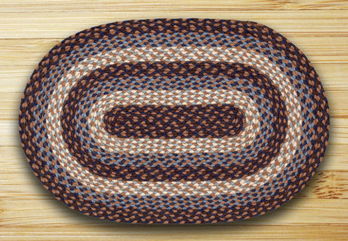 Earth Rugs™ oval braided jute rug in pictured in: Blue - C-743
