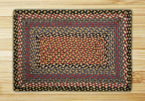 Earth Rugs™ Rectangle Braided Jute Rug Pictured In: Burgundy, Blue, & Gray