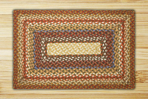 Earth Rugs™ Rectangle Braided Jute Rug Pictured In: Honey, Vanilla, & Ginger