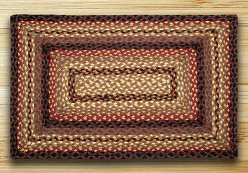 Earth Rugs™ Rectangle Braided Jute Rug Pictured In: Black Cherry, Chocolate, & Cream