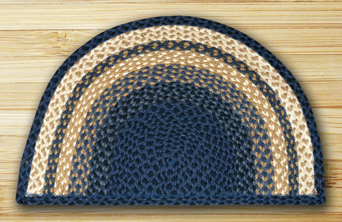 Earth Rugs™ Slice Braided Jute Rug Pictured In: Light & Dark Blue, & Mustard