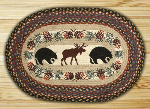 Earth Rugs™ Oval Patch Rug - Bear & Moose - OP-043
