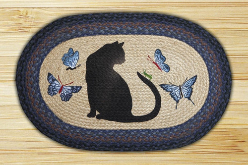 Earth Rugs™ Oval Patch Rug - Cat & Grasshopper - OP-100